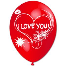 """""""I LOVE YOU"""" trükiga 30cm/12"""" õhupallid punased"""